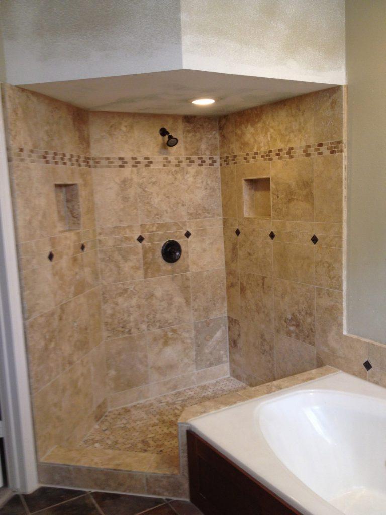 Travertine Custom Shower Bathroom Remodeling in Austin Tx by Vintage Modern Design Build