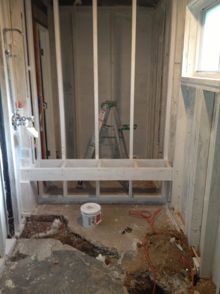 Custom Walk in Shower Framing - bathroom remodeling austin