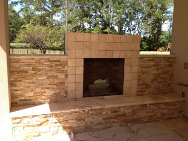 Outdoor Stone Fireplace - Front- West Lake HIlls / Lakeway / Austin Tx