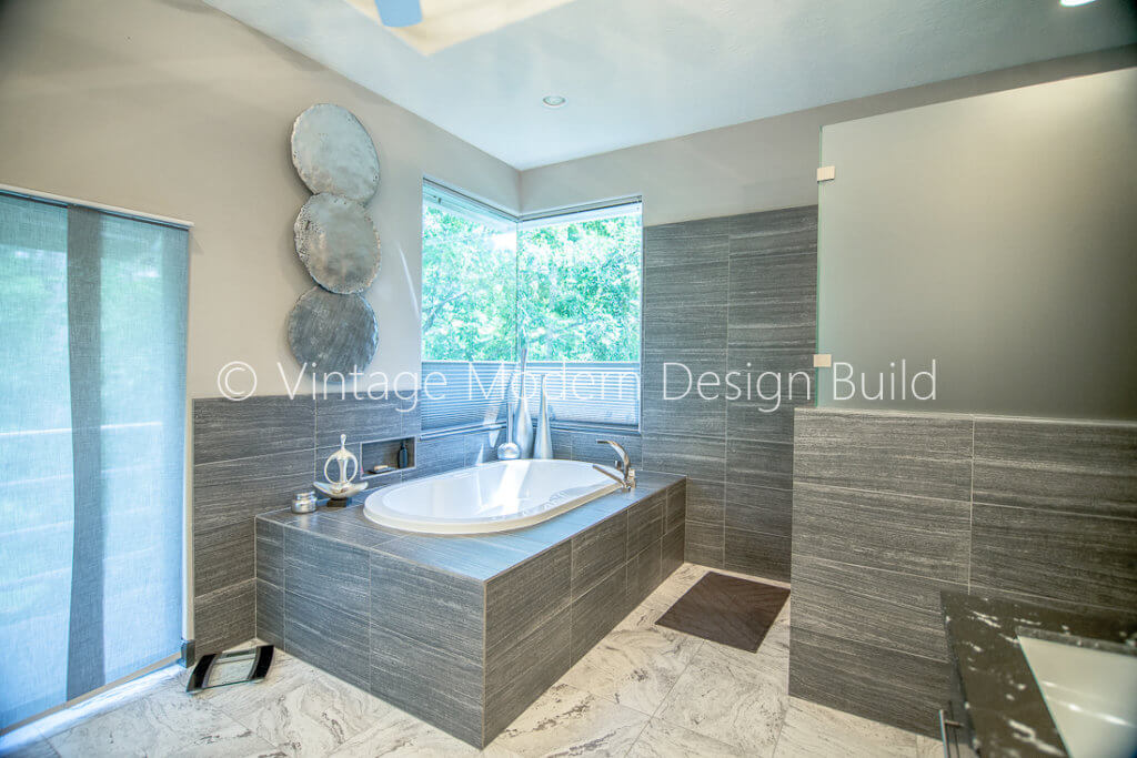 minimalist modern grey bathroom remodeling project austin tx