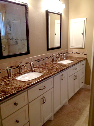 Custom cabinets for bathroom remodel by Vintage Modern Design Build