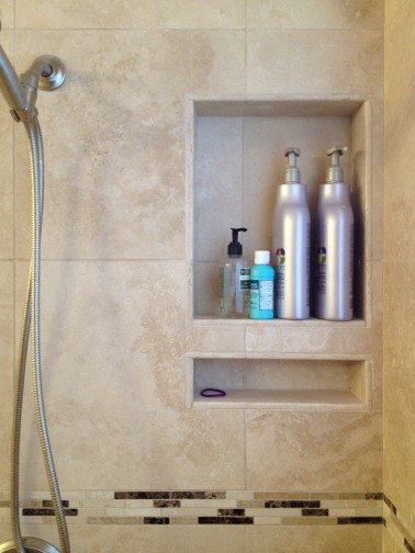 Custom Shampoo Niche in Travertine Shower in West Lake HIlls / Lakeway / Austin Tx
