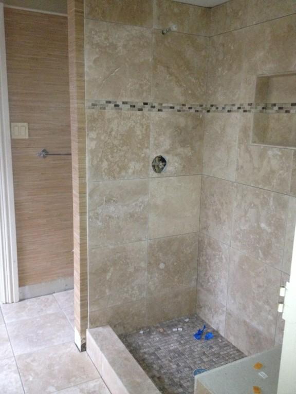 Travertine tub to shower conversion remodeling West Lake Hills/ Lakeway / Austin Tx