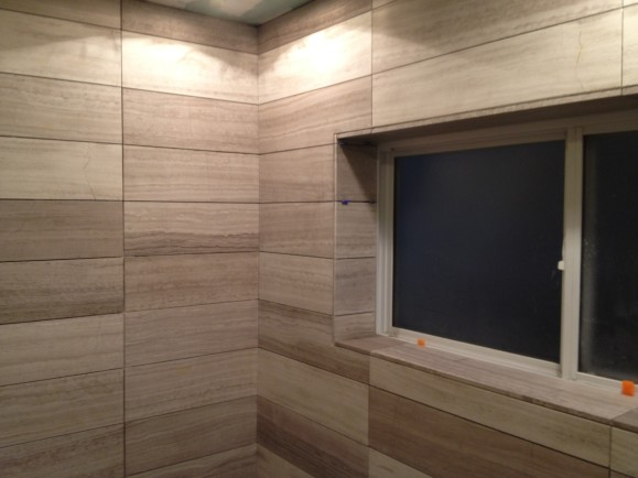 Walk in Custom Limestone Minimalist Modern Shower West Lake HIlls / Lakeway / Austin Tx