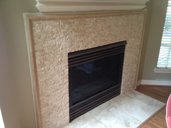 Travertine Fireplace Remodel in West Lake HIlls / Lakeway / Austin Tx