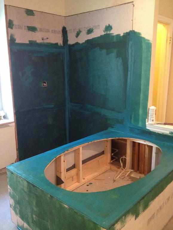 travertine tile bathroom in the woodlands tx waterproofing