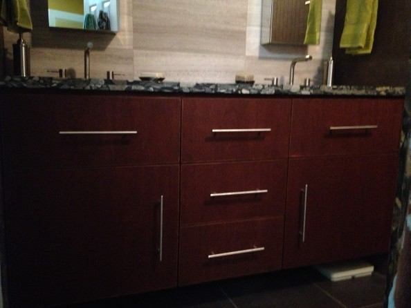 Modern Mahogany Vanity with hardware / bathroom remodeling West Lake Hills / Lakeway / Austin Tx