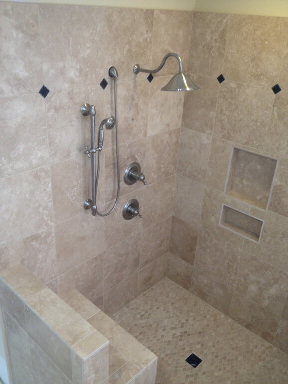 Travertine Shower Bathroom Remodel in West Lake HIlls / Lakeway / Austin Tx