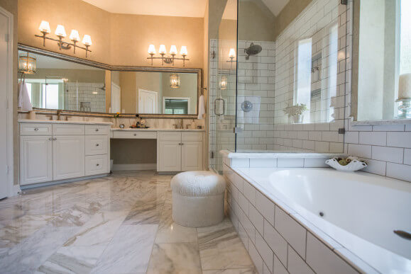Victorian Bathroom Remodel in Austin Subway Tile Calcatta Gold Marble by Vintage Modern Design Build