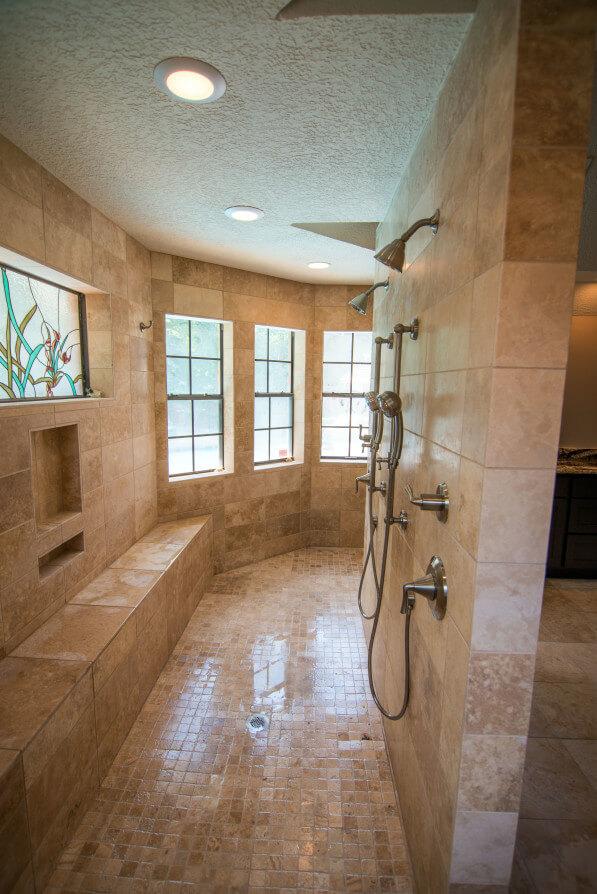 Custom Milled Travertine Walk in Shower Westlake / Austin Tx by Vintage Modern Design Build