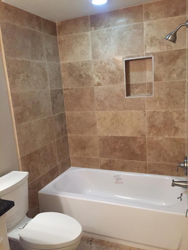 Travertine Tub Surround Bathroom Remodeling in Austin Tx
