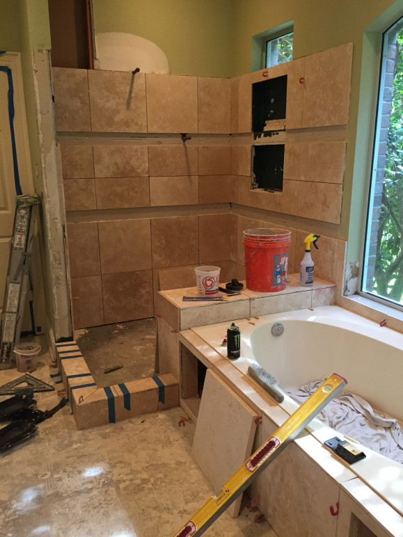 Travertine Bathroom Remodeling Contractor in West Lake Hills / Austin Tx