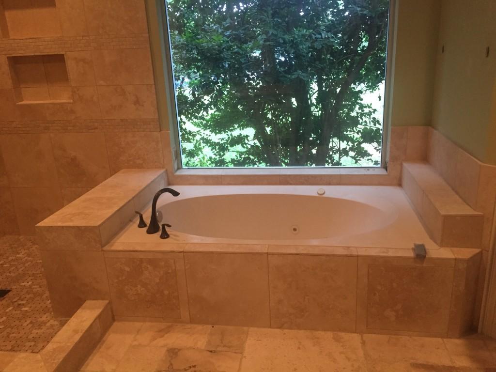 West Lake Hills Travertine Shower Master Bathroom Remodeling by Vintage Modern Design Build