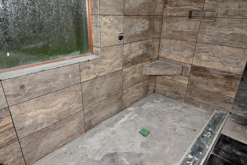 Walk in Shower bathroom remodel by Vintage Modern Design Build Austin Tx