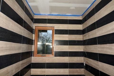 Limestone Bathroom Remodel in Austin Tx by Vintage Modern Design Build