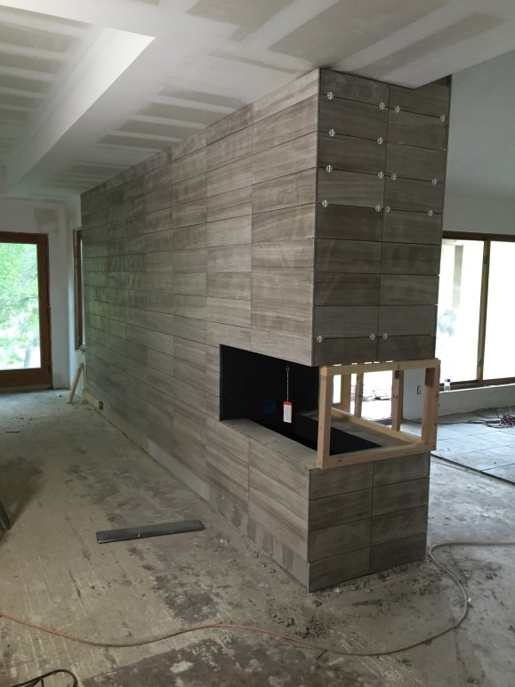Minimalist Modern Limestone Fireplace Austin Tx