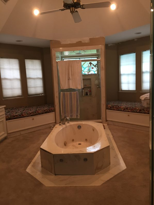 80sf Travertine Walk in Shower Austin Tx - Before