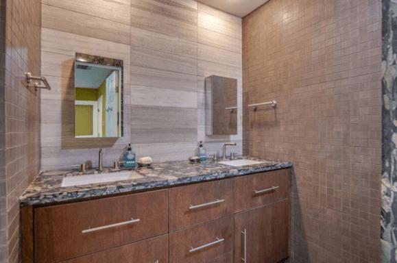 Custom Limestone / Sand stone Minimalist Modern Walk in Shower in Westlake Tx / Austin Tx by Vintage Modern Design Build