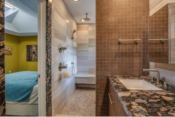 Custom Limestone / Sand stone Minimalist Modern Walk in Shower