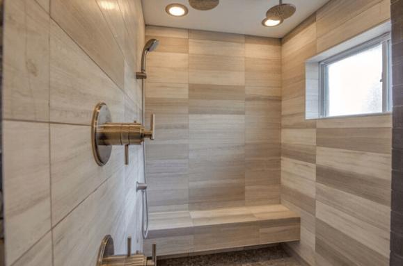 Minimalist Modern Walk in Shower bathroom remodel Austin TX
