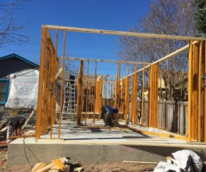 This is the framing on a room addition remodel done by Vintage Modern Design Build