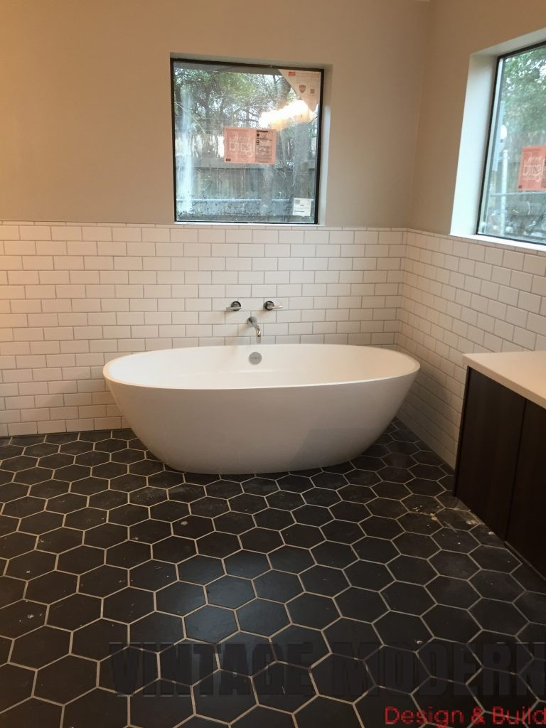 this modern bathroom remodeling project in austin tx done by vintage modern design build