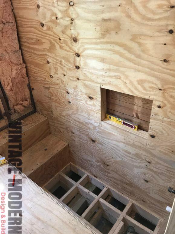 Sunken Shower Bathroom Remodeling Project Austin Tx by Vintage Modern Design Build
