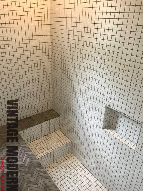 Sunken Mosaic Tile Shower Bathroom Remodeling Contractor Austin Tx