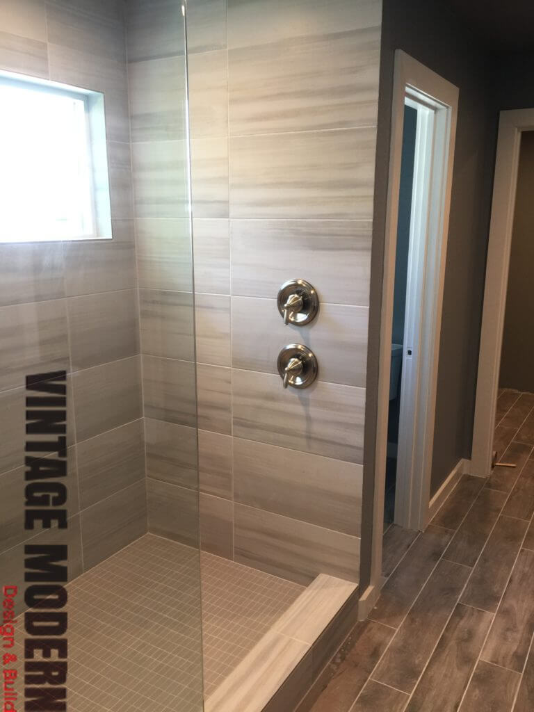 Minimalist modern walk in shower contractor Austin TX