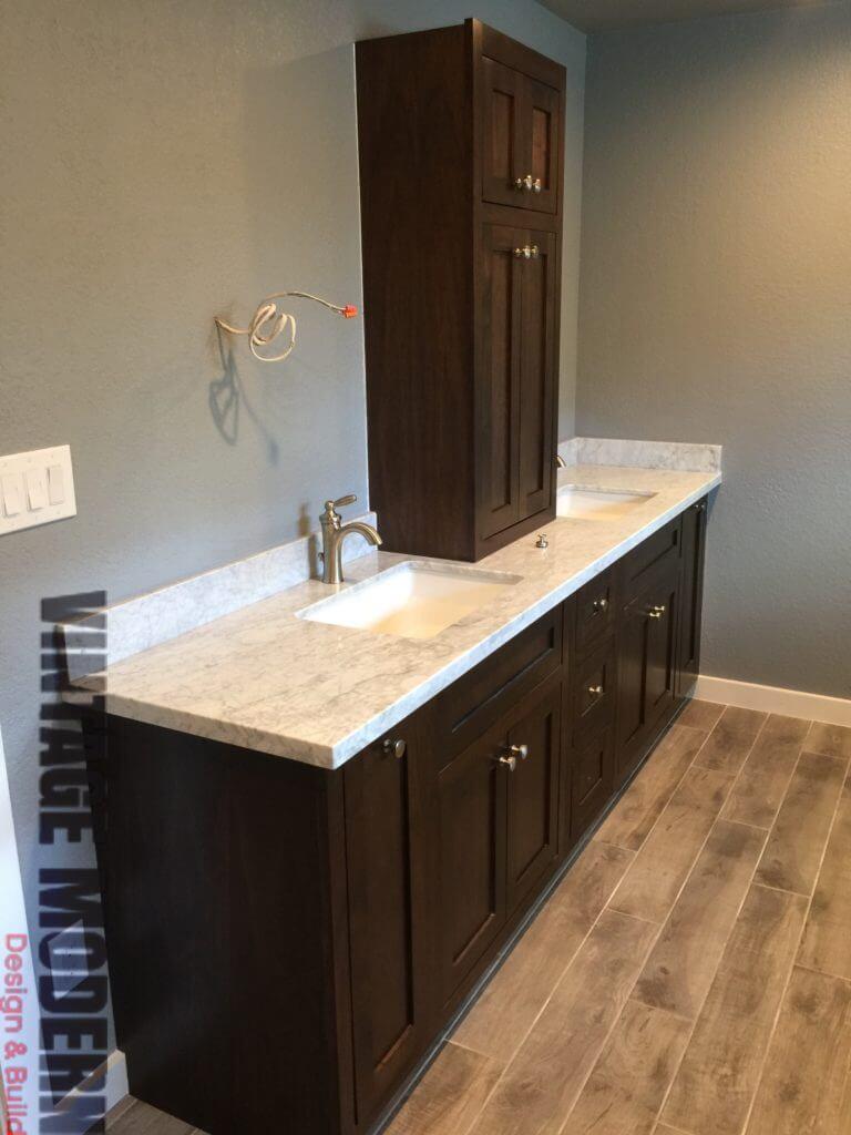 Rustic modern custom cabinetry bathroom Austin TX