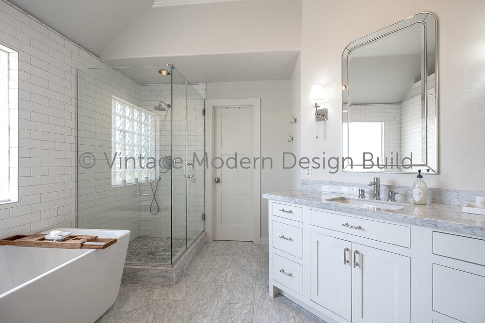 Victorian transitional bathroom remodeling project Austin TX