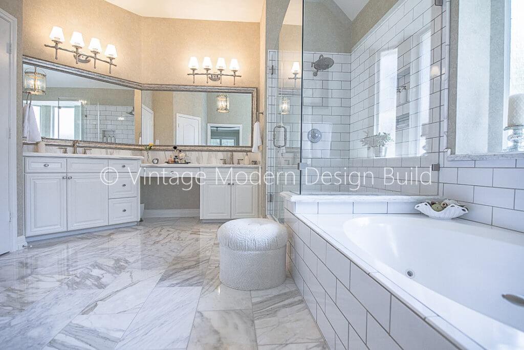 Calacatta Marble Master Bathroom remodel, Austin, TX