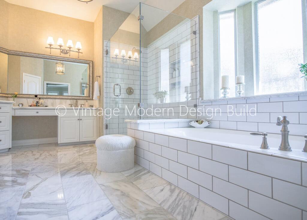 Calacatta Marble victorian Master Bathroom remodel, Austin, TX