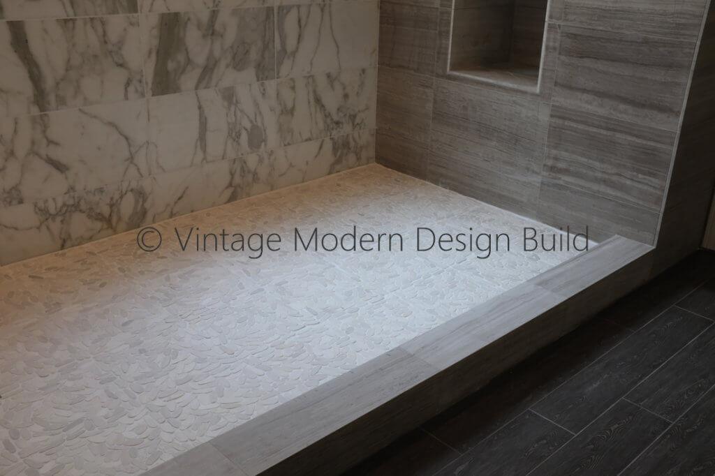 Minimalist Modern Calacatta Gold Marble Bathroom Remodeling Austin / Lakeway TX