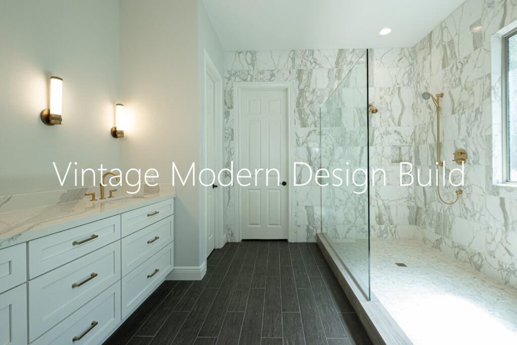 Minimalist Modern Calacatta Gold Marble Bathroom Remodeling Austin / West Lake Hills TX