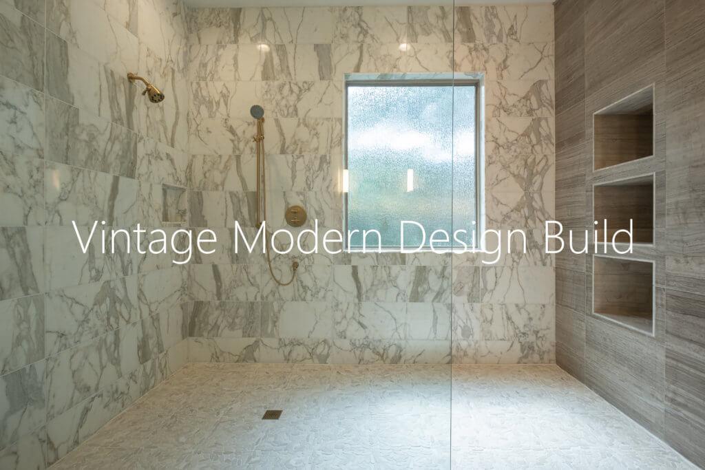 Calacatta Gold Walk In Shower Austin Tx Vintage Modern Design Build In Austin Texas