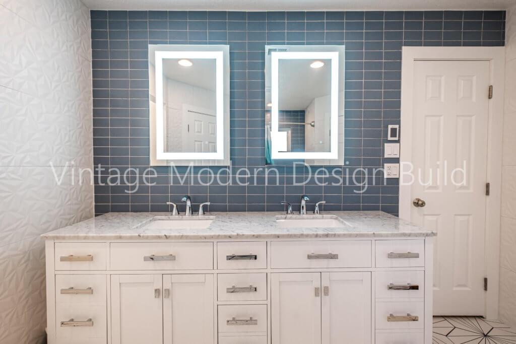 Mid century modern geometric. bathroom remodeling austin tx