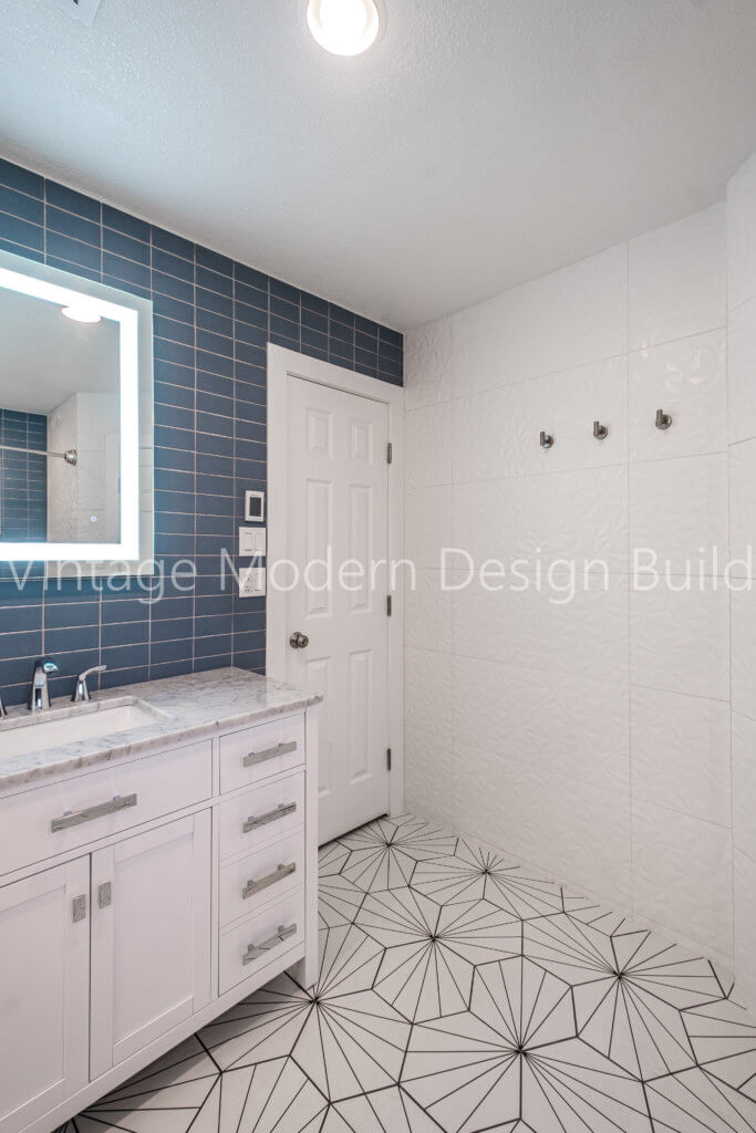 Minimalist Modern Geometric Bathroom Remodeling Austin TX